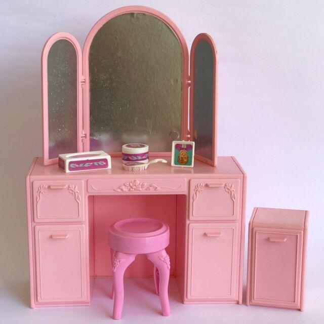 BARBIE Sweet Roses Vanity and Nightstand Set MATTEL 1989 Doll Pink Furniture Toy