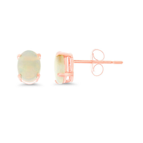 0.85CTW 5 X 7 MM OVAL SHAPED GENUINE NATURAL OPAL EARRINGS 14KT ROSE GOLD