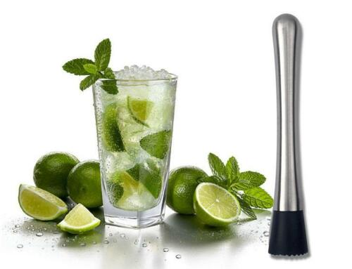 Stainless Steel Cocktail Swizzle Stick Fruit Muddle Crushed Ice Hammer Bar Tool