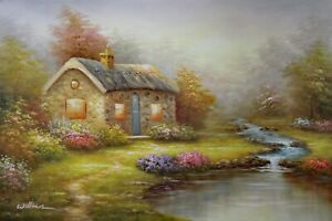 English Cottage Home Pond Stream Spring Flowers 24X36 Oil Painting STRETCHED