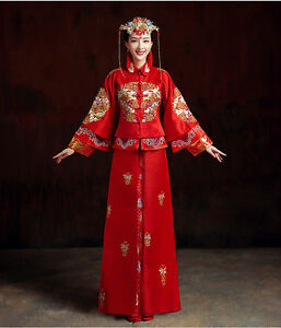Chinese wedding dress qipao kwa cheongsam 1d custom make for Traditional chinese wedding dress hong kong