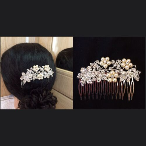 Splendido cristallo sposa Prom Party Perla Diamante Capelli Pettine Clip