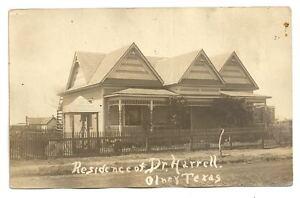 OLNEY-TX-TEXAS-Dr-Harrell-Residence-Antique-RPPC-Postcard-Vtg-Real-Photo-PC