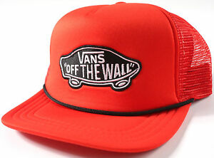 Vans CLASSIC PATCH Red TRUCKER Hat-NEW-skate surf skateboard cap-  d62409446b4