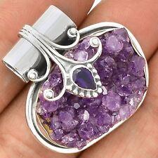 Amethyst Druzy & Iolite 925 Sterling Silver Pendant Jewelry SP220960