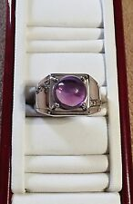 Amethyst Cabochon and White Topaz Men's Heavy Sterling Silver Ring - Size 12