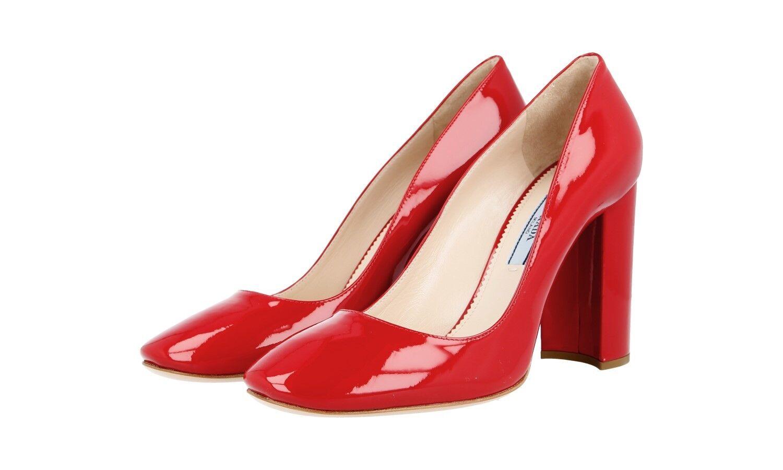 LUSSO Prada tacco alto scarpe classico 1i471f Rosso Pelle Verniciata Nuovo 40 40,5