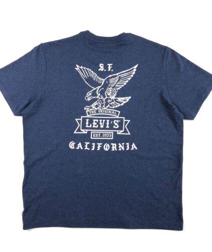Levi's® Crew Neck T Shirt Men's Mottled Navy Blue Est1873 Classic Fit 22491-0330