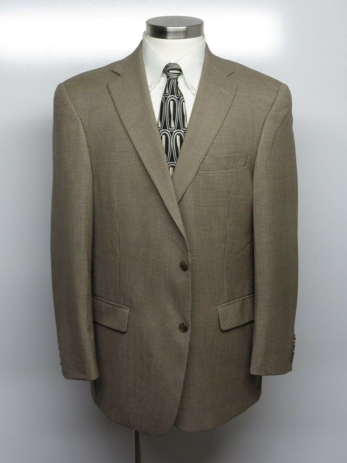 HART SCHAFFNER MARX Sport Coat 44R BeigeHoundstooth 100% Wool CURRENT MODEL 295