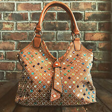 Womens Brown Jewel Moda Slouch Tote Handbag Faux Leather Free River Island Gift