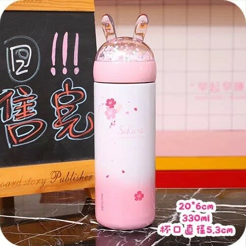 300 ml mini boisson chaude Thermos Lovely Sakura tasses pour filles hiver eau chaude mugs