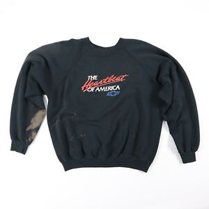 Vtg-80s-Chevy-Hanes-Raglan-Sweatshirt-MEDIUM-Trashed-Distressed-Faded-Black-USA