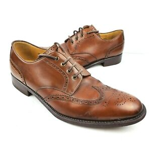 Calzoleria-Harris-Brown-Leather-Wingtip-Oxfords-Men-039-s-11-Lace-Up-Dress-Shoes