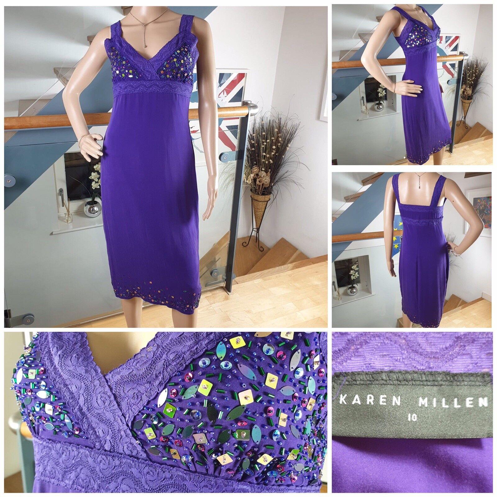 Karen Millen Purple Silk Slip Dress Stretch Sequin Embellished Size 10