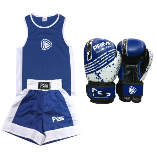 Kids uniform set top & bottom age 3-12 years junior boxing gloves 4/6 OZ Blue
