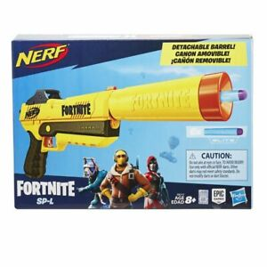 NERF Fortnite Sp-l Elite Blaster Detachable Barrel 6 Darts 8 Toy Gun 2019