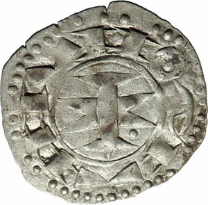 1200-1300AD-FRANCE-Medieval-MELGUEIL-Antique-Billon-Silver-French-Coin-i74602