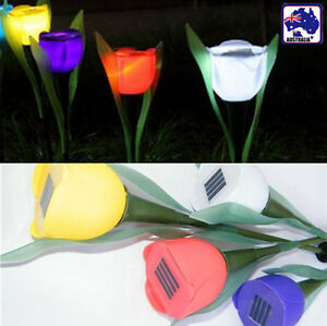 Details About 5pcs10pcs Solar Powered Led Tulip Lantern Flower Lights Outdoor Garden Path Way