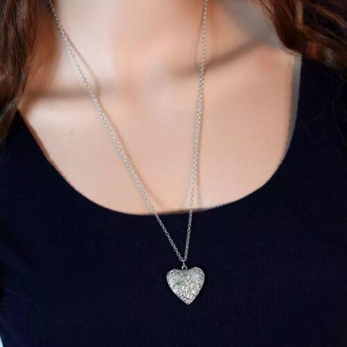 Para mujeres Plata llenada de ver a través de Corazón Amor Foto Medallón Collar Colgante Regalo