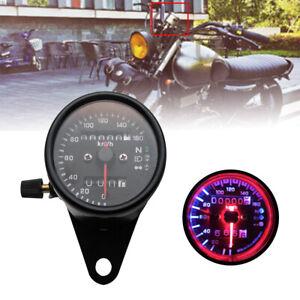 Motorcycle-LED-Backlight-Dual-Odometer-Speedometer-Gauge-W-Bracket-Cafe-Racer