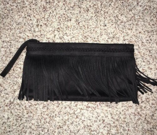 Express Black Fringe Clutch Purse Zip NWOT