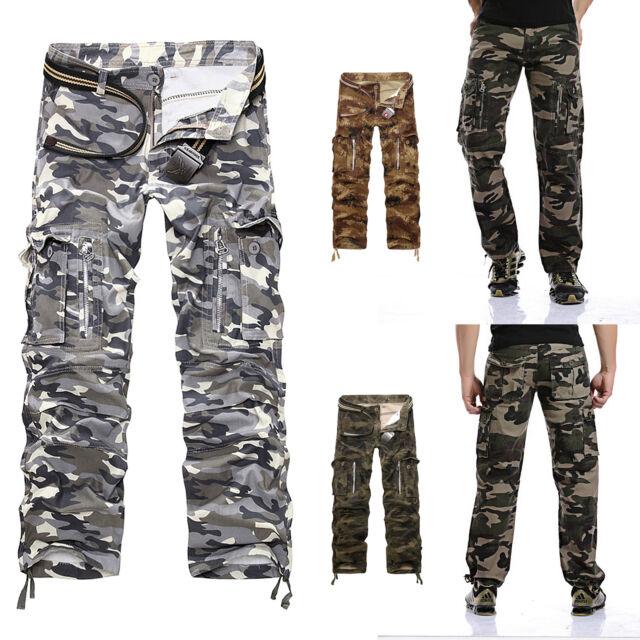 Homme Pantalons de travail camo armée cargo combat camouflage treillis Mélange