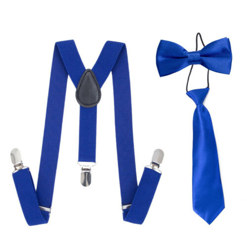 Boy Girls Elastic Suspenders 3 Clips Braces Bow Tie Necktie Suspender Set Y-Back