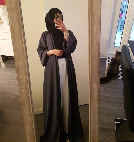 Dubai Style Open Front Cardigan Kaftan Abaya Muslim Women Jilbab Robe Maxi Dress