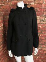 PRINCIPLES Ladies Black Polyester Fur Lined Hood Hooded Coat Size 8