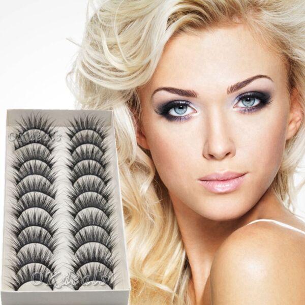 10pairs Long Natural Makeup Black Eye Lashes Handmade Thick Fake
