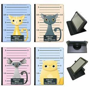 Police-Lineup-of-Naughty-Bad-Cats-Universal-Leather-Case-For-Hipstreet-Tablets