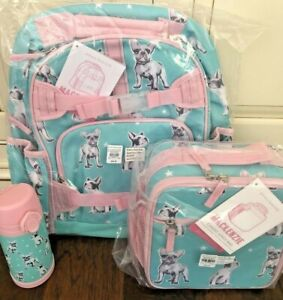 Pottery Barn Kids Large Backpack Frenchies Lunchbox Water