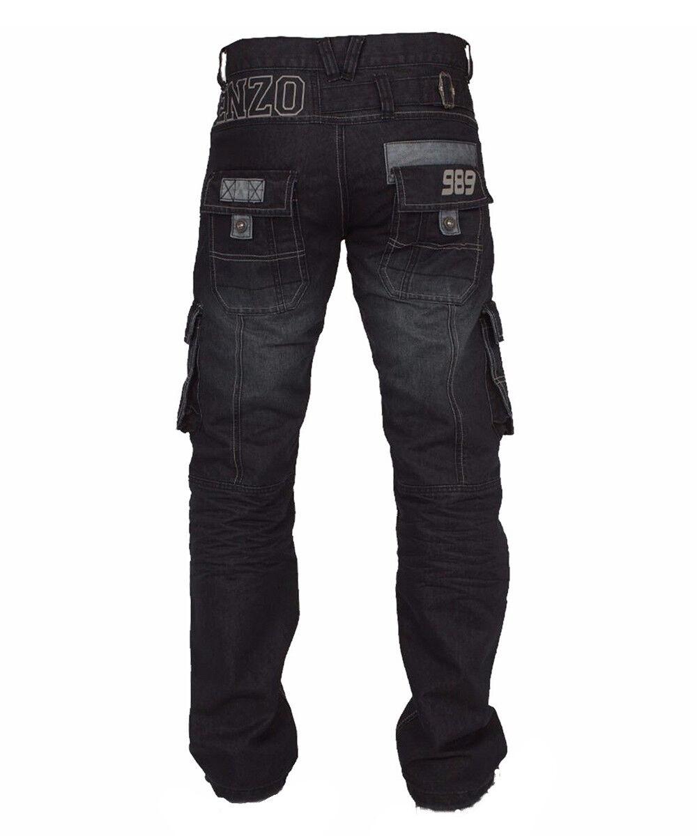 Enzo da men Combattimento   Jeans Cargo Dettagli Curati Ez 319 - blue Scuro