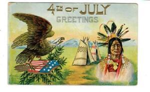 Vintage-Patriotic-July-4th-Postcard-Eagle-Indian-Flag-amp-Tepees