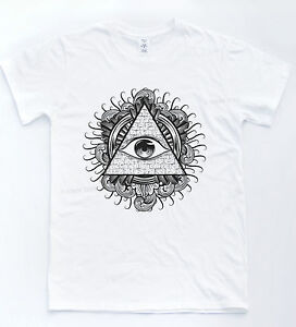Illuminati Eye T Shirt Indie Retro Tattoo Tee Sketch Pyramid Vintage