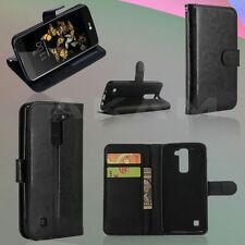 PU Leather Book Wallet Black Flip Case Cover With Card Slots For LG K8 K350N
