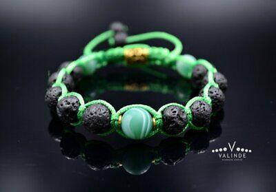 Bracciale Da Uomo Pietra Naturale Bracelet Edelstein Agata Lava Regalo Per Uomo-mostra Il Titolo Originale