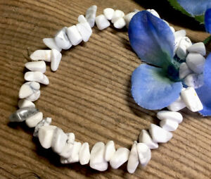 17-4g-SOOTHING-NATURAL-WHITE-HOWLITE-CRYSTAL-CHIP-HEALING-BRACELET-Reiki-USA