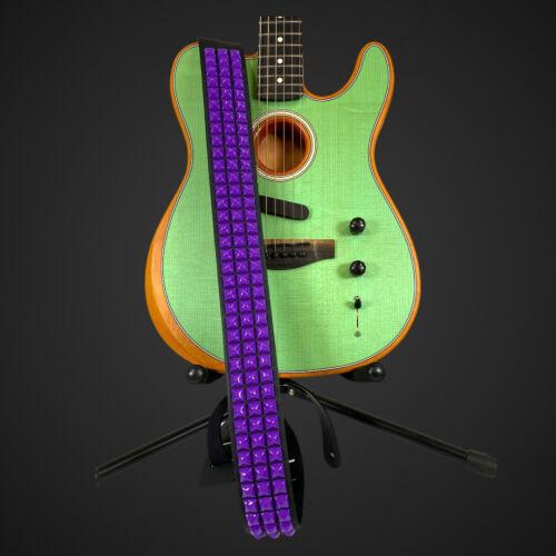 Purple Stud USA MADE  Top Grain Leather Guitar Strap w//Studs1//2/' Neon Pyramid