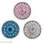 3 Mixte Boutons Pression Click Strass Rond Pr Bracelet Personnalisé 18.5mm