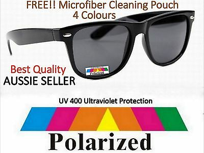 Brand New Polarised  Retro Classic Black 80s sunnies Sunglasses with Free Pouch