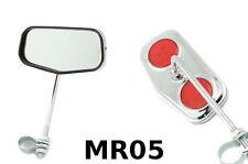 PAIR RETRO BIKE MIRRORS CHROME CYCLE HANDLEBAR MIRROR DOUBLE REFLECTORS