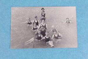 VINTAGE-1920-039-s-RPPC-REAL-PHOTO-POSTCARD-WOMEN-IS-SWIMSUITS-AT-SALTAIR-UTAH