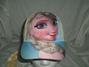 Disney-Frozen-Elsa-Hat-with-Long-Blonde-Hair-Braid-Attached-Girls-Baseball-Cap