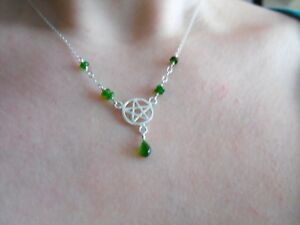 925-STERLING-SILVER-teardrop-NECKLACE-chrome-DIOPSIDE-gemstone-PENTACLE