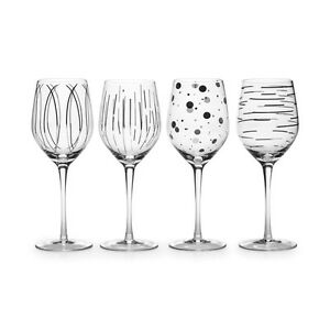 NEW-MIKASA-4-PC-SET-CHEERS-METALLICS-SILVER-AND-CLEAR-WINE-GLASS-GOBLET