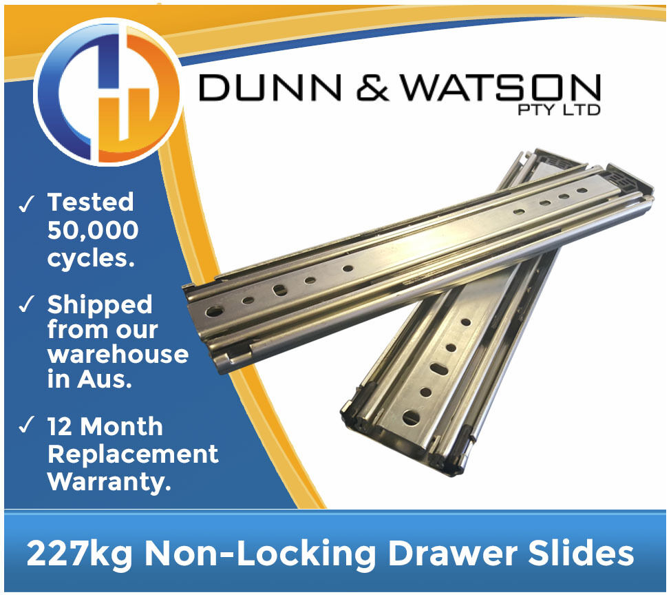 1422mm 227kg Heavy Duty Drawer Slides / Fridge Runners - 500lb, 56