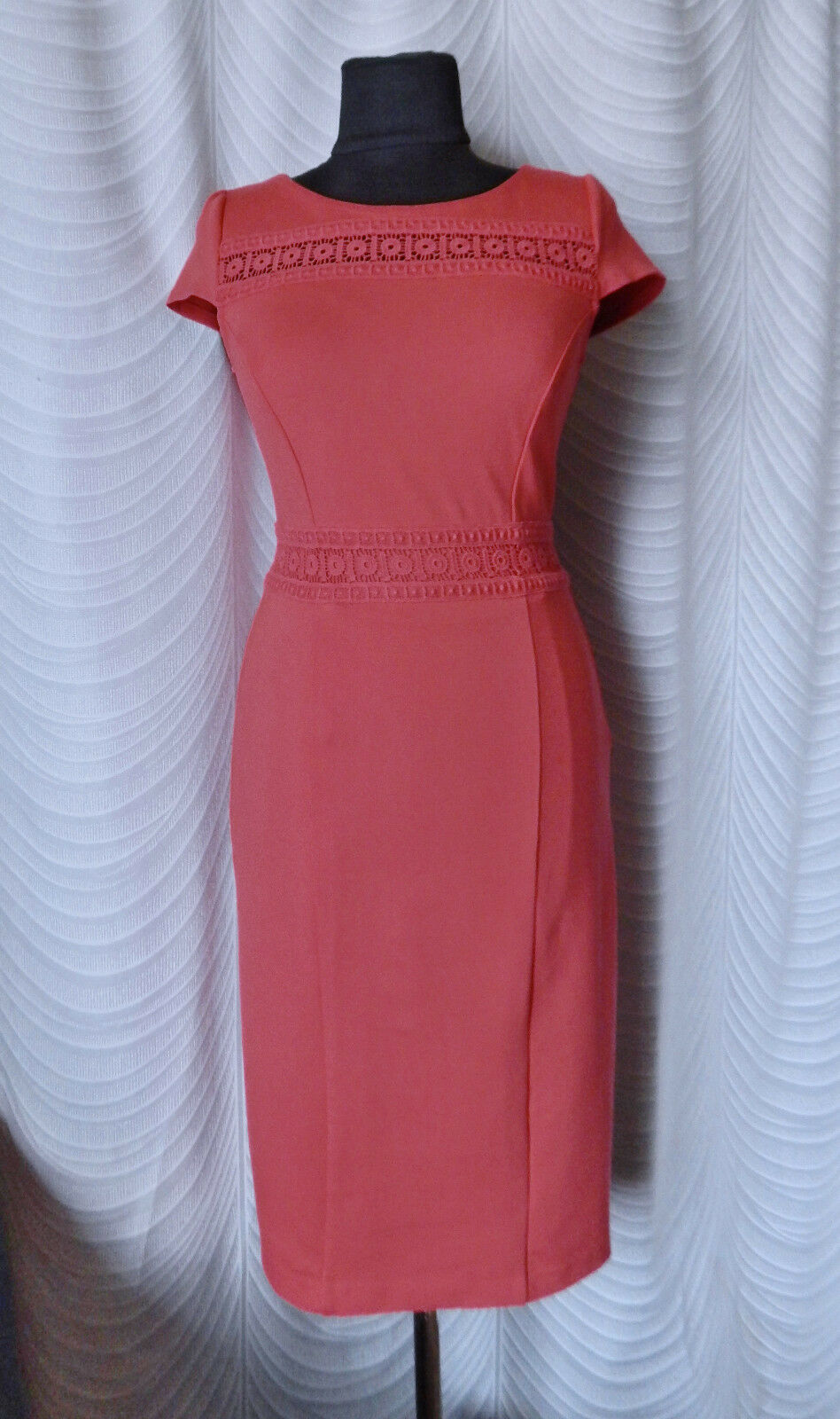 Boden Smart Pink Coral Pencil Dress Size R US 4R Short Sleeve Office