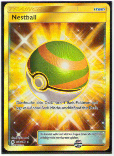 Pokemon nestball FULL ART SECRET-RARE GOLD 158//149 soleil /& lune ALLEMAND Presque comme neuf-Comme neuf