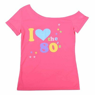 I Love 80/'s T Shirt 80 Party Fancy Dress Costume 80s Heart Gift Ladies 1980s Top